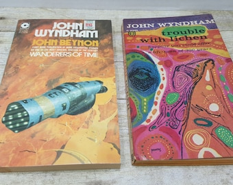 Vintage Science Fiction, John Wydham, set of 2, 1960s-1970s, Wanderers of Time, Trouble with Lichen, vintage sci fi