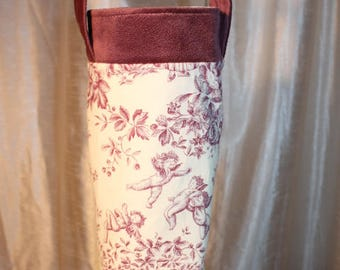 Bag wears bottle cotton toile de Jouy motif, very original and practical, free shipping