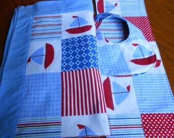 Sailboats Flannel 3 Piece Set Blanket, Bib, Burp Cloth/Receiving Blanket Set