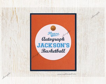 Basketball Signature or Autograph Sign, Made To Order, Personalized, Sports Birthday Party or Baby Shower, DIY Printable, March Madness