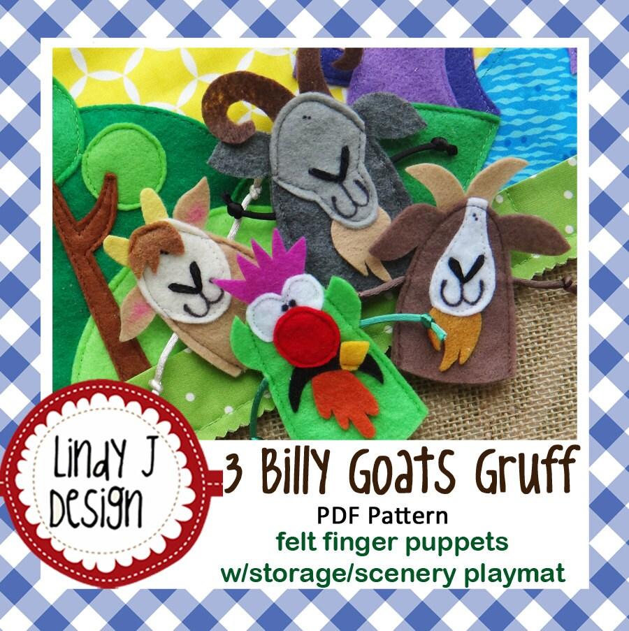 3 Billy Goats Gruff Felt Finger Puppets Sewing Pattern PDF