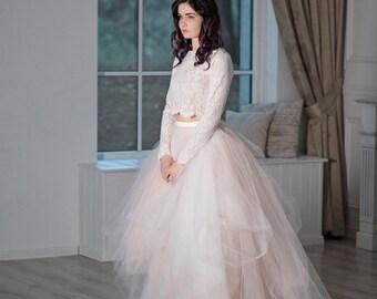 Magnolia - whimsical wedding dress / crop top wedding dress / original wedding dress / fairy wedding dress / blush wedding dress