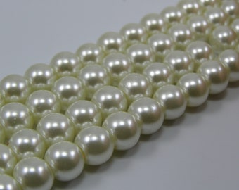 Set of 25 8 mm ivory glass pearl beads