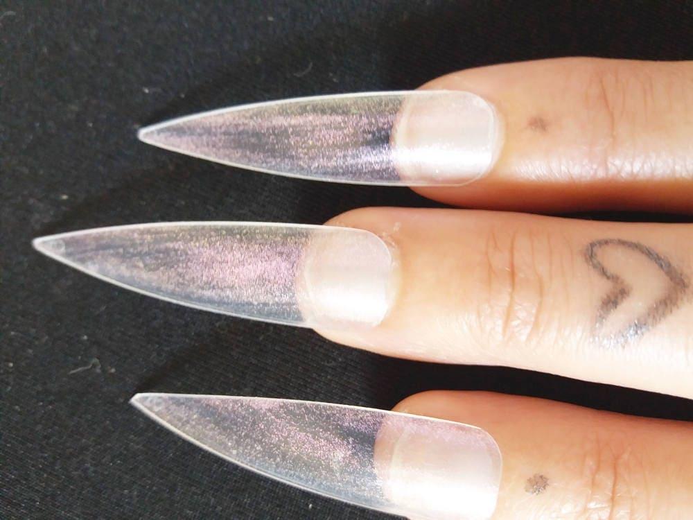 fake nails clear medium long stiletto false nails iridescent pink ...