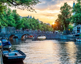Sunset over the Canal in Amsterdam
