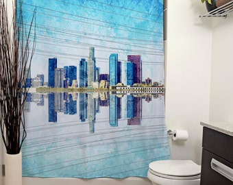 Los Angeles Skyline Printed Shower Curtain, Bathroom Decor, Home, Downtown Los Angeles, California, Buildings, Urban, City, Architecture
