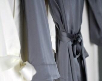 Grey Satin Robe, Satin Bridal Robe, Ankle Length Robe, Silver Robe, Grey Robe, Long Satin Robe, Grey Wedding Robe, Satin Dressing Gowns, UK
