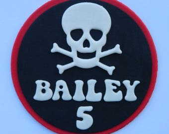 1 x edible PIRATE THEME PERSONALISED name age skull plaque cake topper jake neverland wedding birthday
