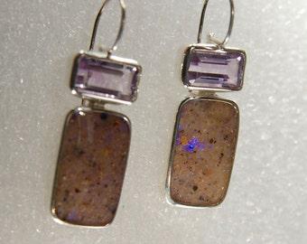 Louisiana Opal and Amethyst Solid  Sterling Silver Earrings