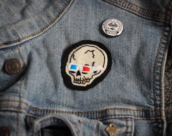 Skull with 3D Glasses Hand Embroidered Patch