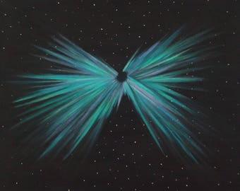 Northern Lights Painting.  Aurora Borealis Burst.  Butterfly Aurora.  Night Sky Painting.  Semi-Abstract. Artist Eva Tormey.