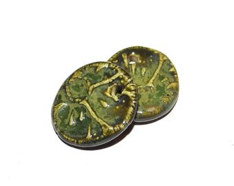 Ceramic Earring Pair Charms Handmade Textured Floral Green