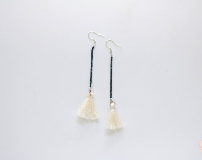 Gatsby Theme Seed bead and tassel statement earrings | Long earrings.