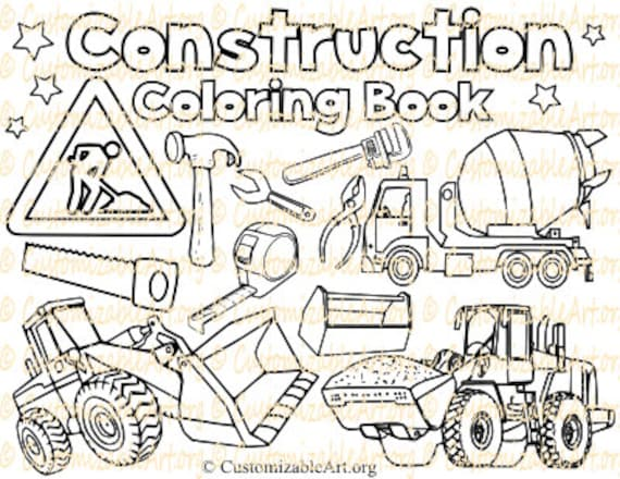 Construction Coloring Book Digital Construction coloring Pages