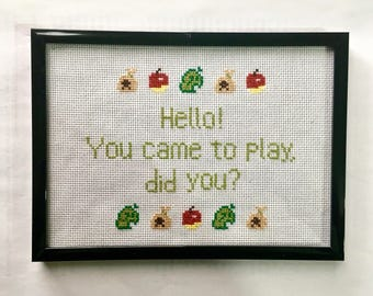 Animal crossing - framed embroidery