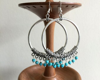 Large Hoop Earrings • Bali • Silver •  Turquoise Earrings Jewellery •  Ethnic • Tribal • Hippie • Gypsy • Boho Bali • Bohemian