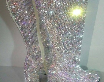 Custom Knee High Boots Made With Swarovski Elements