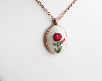 Embroidered Scarlet Rose Necklace - Vintage-Style Copper