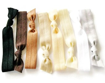 Hair ties,  Ombre Naturals, Lucky Girl Hair Ties, elastic hair bands, knotted hair ties, foldover elastic