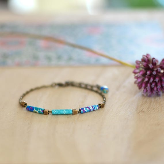 Teal bracelet, boho bracelet with long beads, handmade patterned, on brass