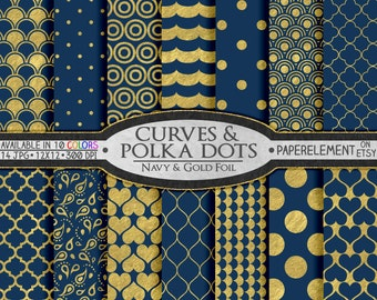 Navy Blue and Gold Digital Paper Wedding Patterns - Metallic Gold Paper on Printable Navy Backdrops: Gold and Navy Blue Digital Paper