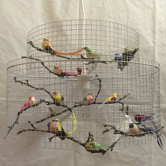 Bird cage lamp double bird lampshade chandelier large lampada aloadofball Image collections