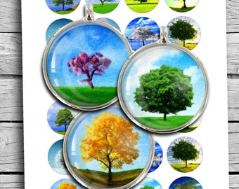 Tree of Life Paintings 1 inch 30mm 1.5 inch Printable Images Digital Collage Sheet Bottle Cap Images Instant Download