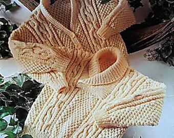 PDF Knitting Patterns, Aran Knitting Pattern, Knitting Patterns, Digital download knit Pattern, Shawl Neck Sweater Pattern