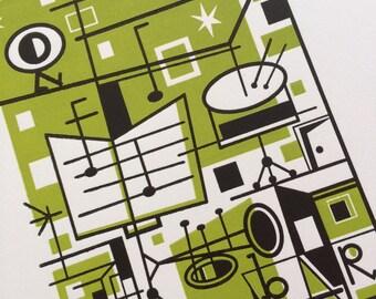 JAZZ Geometric by JD King MCM style Mid century art Eames style Geometric print retro Modern Hand Printed Letterpress Drums trumpet print