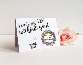 Will you be my bridesmaid scratch off Card - Bridesmaid Proposal, Maid of Honor, Bridesmaid Ask Card with Metallic Envelope