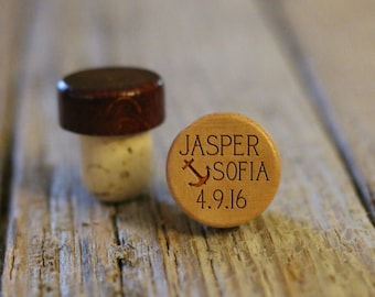 BEST PRICE ** Lot of Personalized Custom Wine Stopper, Laser Engraved Cork Bottle Topper, Reusable Rustic Party Favor --WS-L-Anchor