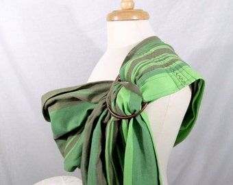 Wrap Conversion Ring Sling Baby Carrier - Little Frog Olivine - WCRS - Twill Weave Pleated Shoulder - DVD included, baby shower gift