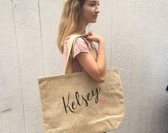 Burlap tote,First name, personalized Burlap totes, tote bag, jute beach bag, customized bag, burlap tote bag