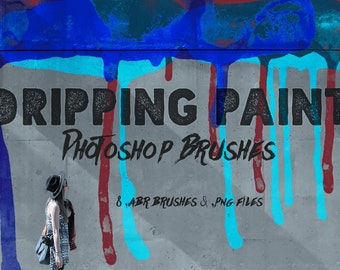 Dripping Paint Photoshop Brushes - Dripping Paint ClipArt & Digital Stamps, Watercolor Dripping Paint Brushes