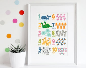 Animal numbers poster, Animal print A3, Numbers print, Childrens art, Nursery print, Nursery art, Nursery decor, Preschool gift, Baby gift