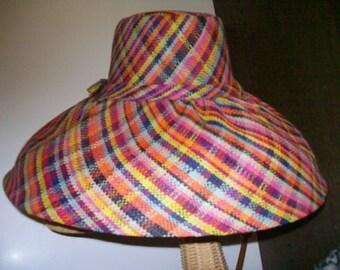 Rainbow Plaid Wide Brim Linen Straw Sun Hat