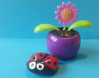 Ladybird pebble - painted pebble - teacher gift -ladybird decoration - painted stone - insect - pebble art - ladybug - plant pot decoration