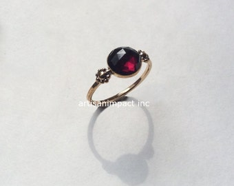 Gold Garnet ring, dainty ring, red garnet ring, January birthstone ring, boho engagement ring, goldfilled ring - Wild is the Wind R2252