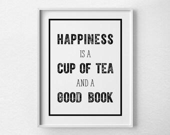Kitchen Decor, Kitchen Art, Kitchen Poster, Book Art, Tea Art, Tea Poster, Cup of Tea, Tea and Books, Kitchen Print, Book Lover, 0439