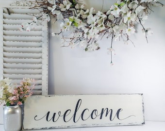 Wood Welcome Sign, Welcome Sign Wood Rustic Finish, Farmhouse Style Welcome Sign