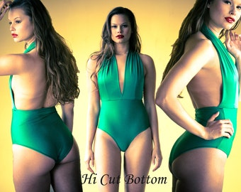 Plunging Neckline One Piece Swimsuit- Color Options