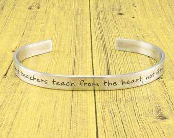 Teacher Appreciation Gift | Teacher Thank You Gift - Teach from the heart.. - Hand stamped pendant necklace or keychain by IIWII Emporium