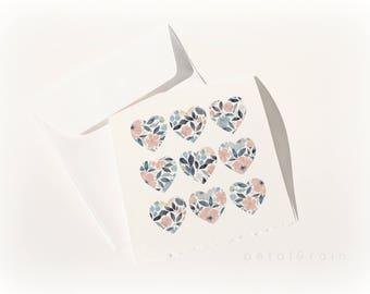 9 of Hearts: Watercolor Card