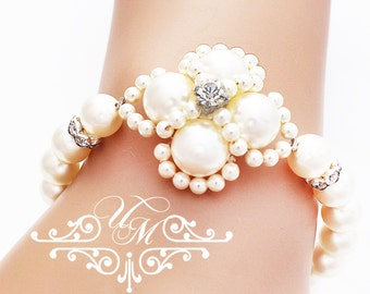 Wedding Jewelry Single strand Swarovski Pearl Bracelet Bridal Bracelet Bridesmaids Bracelet Bridal Jewelry Bridesmaids Jewelry - AUDEY