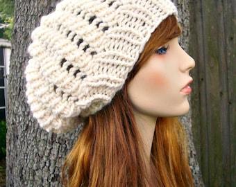 Cream Slouchy Beanie Womens Hat Slouchy Hat - Winter Cyclone Beret Starlight Cream Hat Cream Beanie Womens Accessories - READY TO SHIP