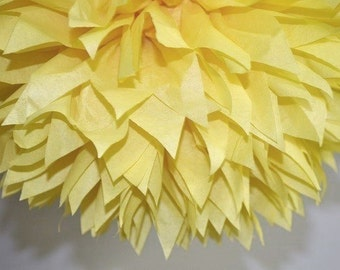 Yellow Tissue Paper Pom Poms, Beauty And The Beast Party Decoration, Duckling Birthday Party Decoration, Yellow And Gray Wedding Decoration