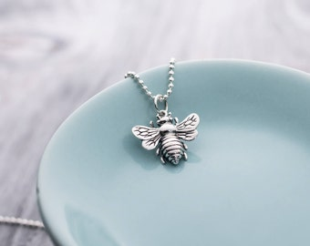 Sterling Silver Bee Pendant Necklace, Bumble Bee Necklace, Honey Bee Necklace, Bumble Bee Charm, Honey Bee Charm, Insect Necklace