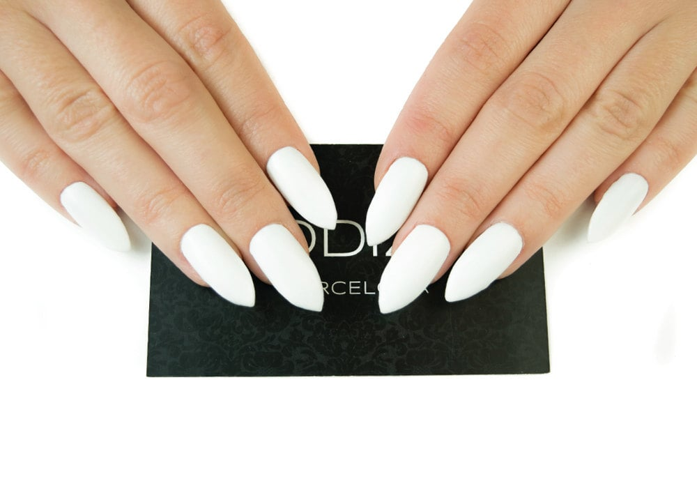 White Matte UV Gel Nails Set, Fake Nails, Press On Nails, Stiletto ...