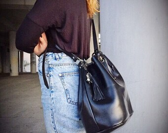 Bucket Bag, Shoulder Bag, Crossbody Bag, Handbag, Women Leather Bag, Made from 100 % Full Grain Leather in Black Color, Made in Greece.