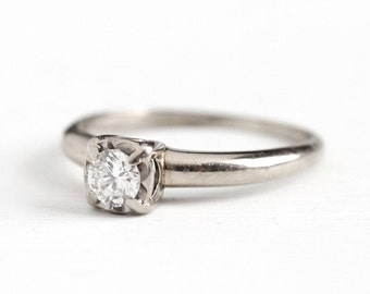 Sale - 1950s Engagement Ring - Vintage 14K White Gold 1/5 Carat Solitaire Diamond - Size 6 1/4 Classic Signed Starfire Wedding Fine Jewelry